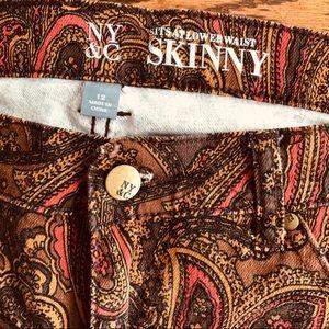 NY&C Skinny Psisley Jeans Sz 12